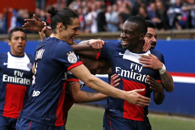 Paris St Germain's Blaise Matuidi celebrates with team mates after scoring a goal against Evian Thonon Gaillard during their French Ligue 1 soccer match at the Parc des Princes Stadium in Paris