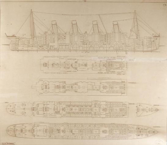"La ilustración obtenida el 3 de abril de 2014, cortesía de la casa de remates RR Auction, muestra un boceto bajo el nombre S.S. Titanic en la esquina inferior izquierda. Fechado a mano el 1 de mayo de 1912 This schematic illustration obtained April 3, 2014, courtesy of RR Auction shows a rare original cross-section and plan labeled ""S. S. 'Titanic,'"" in the lower left corner and marked ""No. 8"" in the upper right corner, 30? x 26?, drawn to a scale of 1/32 inches to one foot, and rubber stamped by Harland and Wolff, with a handwritten date within the stamp of May 1, 1912, just one day before the opening statements were given at the British enquiry, at which this plan was used. RR Auction will feature the Titanic's original building plans that include hand-drawn notations, used during the official British enquiry into the most devastating maritime tragedy in history in its upcoming Titanic themed auction, later this month. This piece was discovered at the old Cunard Line office, which merged with White Star Line in 1934. Originally sold by Onslow's in London, on April 15, 1987, the plan then went on display at the Ulster Museum in Belfast. It was then offered at auction by Henry Aldridge & Son, at which time it became a part of a private collection. It has since been on display at the Titanic Museum in Branson, Missouri. AFP PHOTO/RR AUCTION/HANDOUT = RESTRICTED TO EDITORIAL USE - MANDATORY CREDIT ""AFP PHOTO /RR AUCTION / HANDOUT"" - NO MARKETING NO ADVERTISING CAMPAIGNS - DISTRIBUTED AS A SERVICE TO CLIENTS ="