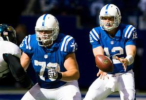 Seth Olsen and Andrew Luck of the Indianapolis Colts | Photo Credits: Michael Hickey/Getty Images
