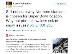 Super Bowl XLVIII Location Stimulates Social Media Conversations image Super Bowl location weather Tweets2