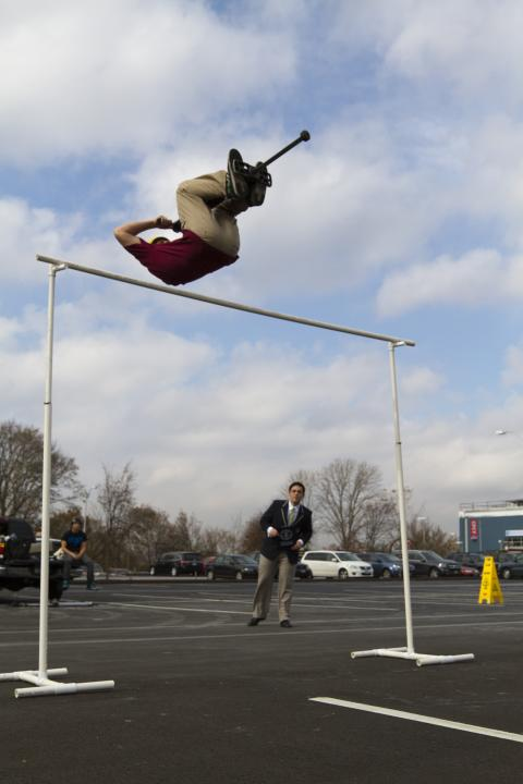 Tone Staub also broke the record for the highest forward flip pogo stick jump is 8 feet (Philip Robertson/Guinness World Records)