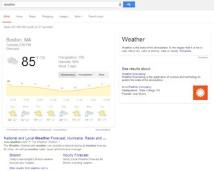 How Google Hummingbird Changed the Future of Search image google hummingbird weather SERP 600x479