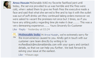 Social Media Strategy Review: Restaurants and Cafes image Customer reply by McDonalds