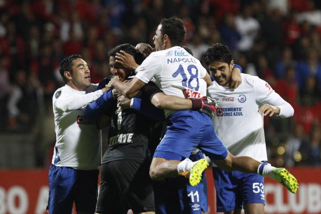 Cruz Azul players celebrate after winning their CONCACAF Champions Cup final soccer match against Toluca in Toluca