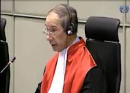 A TV grab released by the Special Court for Sierra Leone shows judge Richard Lussick speaking at the judgement hearing for Liberian ex-president Charles Taylor, in Leidshendam, the Netherlands. Taylor was convicted of arming rebels during Sierra Leone's civil war in return for blood diamonds