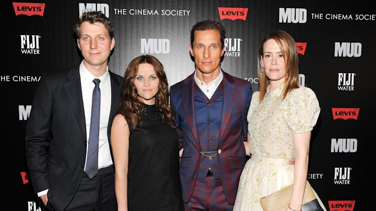 "Writer - director Jeff Nichols, left, poses with actors Reese Witherspoon, Matthew McConaughey and Sarah Paulson, right, at the premiere of ""Mud"" hosted by The Cinema Society with FIJI Water & Levi's at the Museum of Modern Art on Sunday April 21, 2013 in New York. (Photo by Evan Agostini/InvisionAP)"