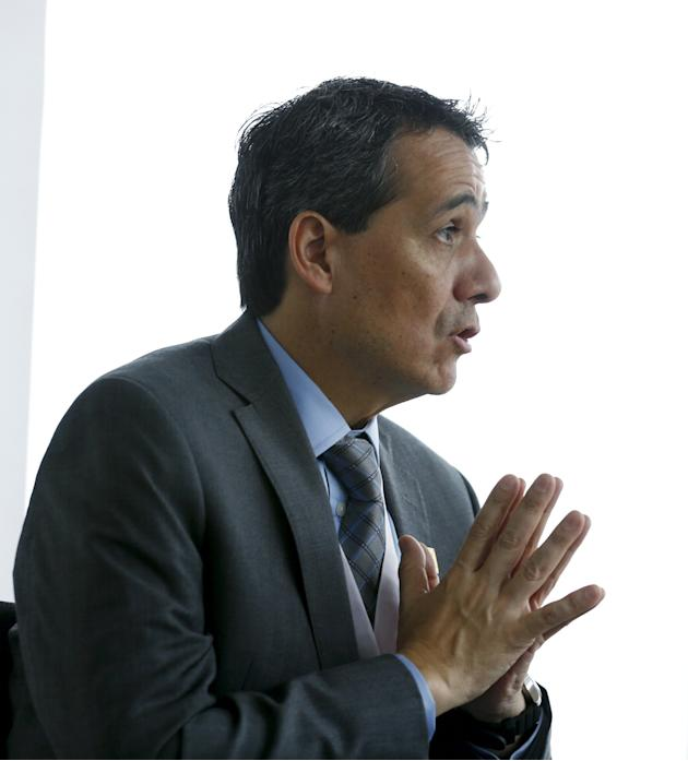 Peru's Finance Minister Segura talks to Reuters during an interview prior to the 2015 IMF/World Bank annual meetings event in Lima