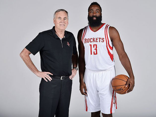 Mike D'Antoni and James Harden stand their ground. (Getty Images)