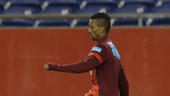Nani, a midfielder on Portugal's national soccer team, loosens up during practice in Foxborough, Mass., Monday, Sept. 9, 2013. Portugal will play team Brazil in a friendly match Tuesday in Foxborough
