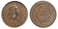 A 1792-dated copper cent, pictured here, has sold for $1.15 million, a US auction house said Friday. The experimental coin with a silver center was one of the first ever struck at the United States mint and is one of just 14 known to have survived