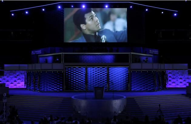 The late boxing great Muhammad Ali is shown on screen on the third day of the Democratic National Convention in Philadelphia