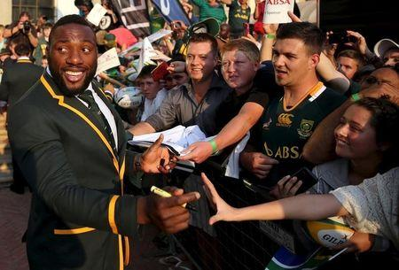 South Africa rugby player Tendai 'Beast' Mtawarira interacts with fans during a public farewell, ahead of their departure for the World Cup in England, in Johannesburg