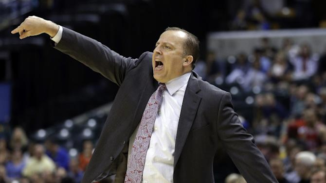 Chicago Bulls head coach Tom Thibodeau directs his team as they play against the Indiana Pacers in the first half of an NBA preseason basketball game in Indianapolis, Saturday, Oct. 5, 2013