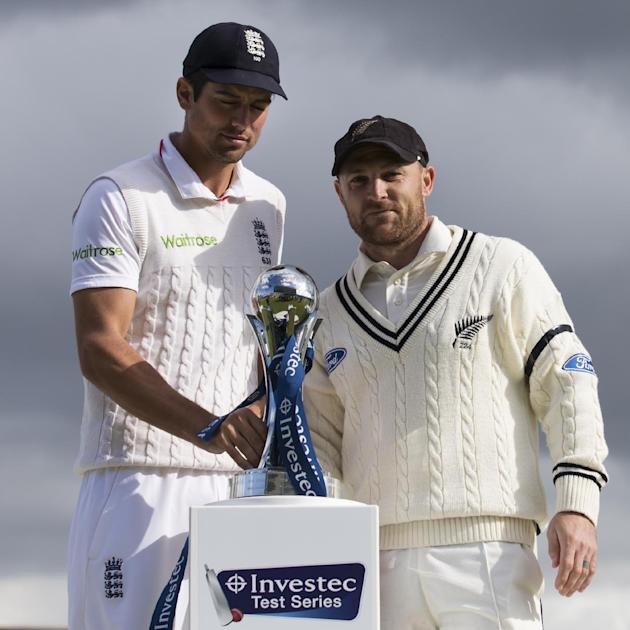 New Zealand's Brendon McCullum, right, stands alongside England's captain Alastair Cook after the tourist's match win and therefore drawn series on the fifth day of the second Test match b