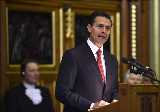 File photo of Mexico's President Enrique Pena Nieto delivering an address to the British All-Party Parliamentary Group in London
