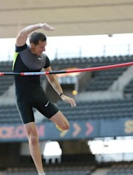 French athlete Renaud Lavillenie competes in the pole vault event of the IAAF Diamond League athletics Areva meeting at the Stade de France in Saint-Denis, a Paris northern suburb. Lavillenie maintained his impressive winning form, recording a best of 5.77m to win the pole vault