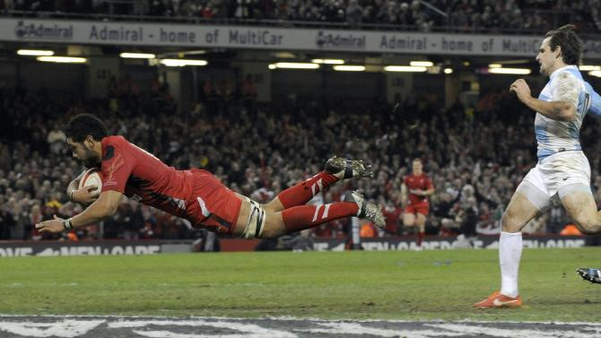 Wales' Toby Faletau scores a try against Argentina during their international rugby union match at the Millennium Stadium in Cardiff