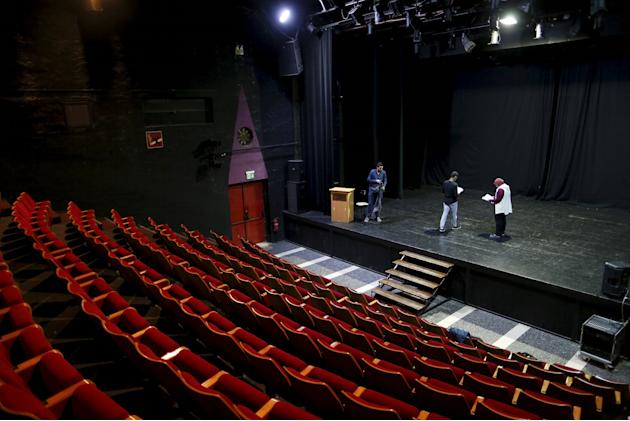 """Actors rehearse at the Palestinian National Theatre, known as """"Al Hakawati"""" (The Storyteller), in East Jerusalem"""