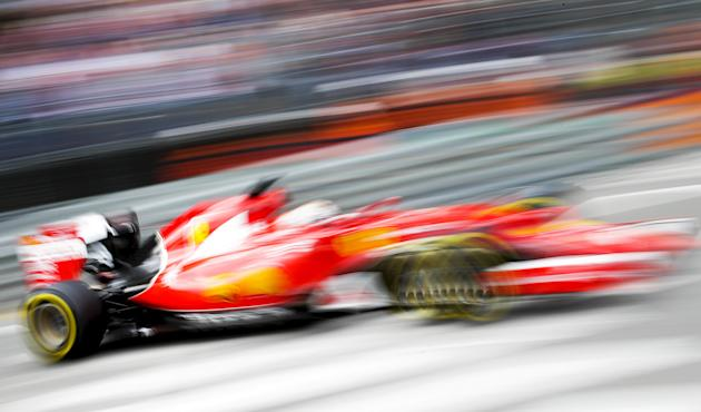 Ferrari Formula One driver Vettel takes a curve during the first free practice session at the Monaco F1 Grand Prix