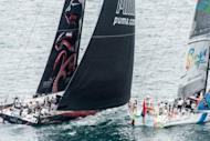 PUMA Ocean Racing powered by BERG, challenges Team Sanya, at the start of the Volvo Ocean Race leg 7 from Miami, to Lisbon, Portugal on May 20. French team Groupama were building a big lead on the leg after making the best use of Tropical Storm Alberto off the coast of Miami