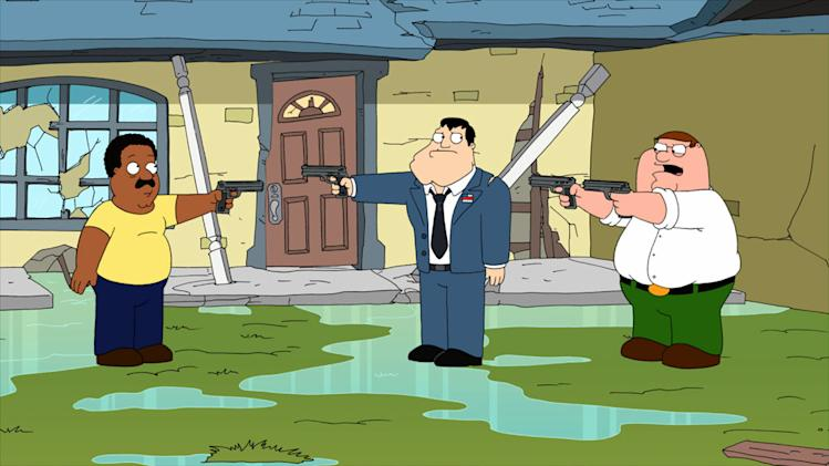 "A storm hits the towns of Stoolbend, Quahog and Langley Falls in the ""Hurricane!"" episode of ""American Dad."""