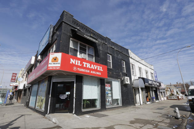 FILE - This Thursday, Feb. 26, 2015 file photo shows Nil Travel agency, where two men arrested on Wednesday accused of planning to go to Syria to join the Islamic State bought tickets, in New York. Li