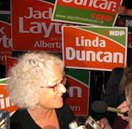 Edmonton-Strathcona MP Linda Duncan, shown after her election victory in 2008, says she hopes Jack Layton's time away from being party leader will help him focus on fighting cancer.