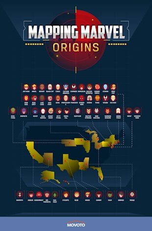 75 Marvel Character Origins Mapped Across The Entire World (Infographic) image marvel map us