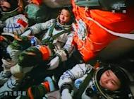 Chinese astronauts Liu Wang (centre), Jing Haipeng (left) and Liu Yang in the Shenzhou-9 spacecraft during a manned space mission which includes China's first female astronaut on June 24. Neil Armstrong's 1969 lunar landing marked a pinnacle of US technological achievement, defining what many saw as the American century, but the next person to set foot on the moon will likely be Chinese