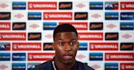 Chelsea's English forward and national football team player, Daniel Sturridge, speaks during a press conference in Manchester, northwest England. Sturridge, who insists he is a centre-forward not a winger despite playing out wide for much of his Chelsea career, could well get an opportunity in Stockholm against Sweden