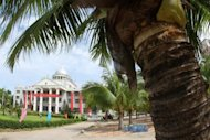 This file photo shows Chinese government house in Sansha, China's newest city, anchored on a remote tropical island with coral reefs, palm trees and white sand beaches giving it the allure of a tourist idyll, under the administration of southern Hainan province