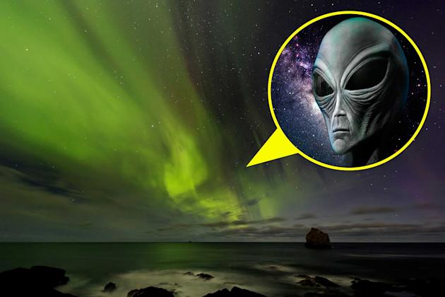 The alien face is seen in the aurora Northern Lights sky (Caters)