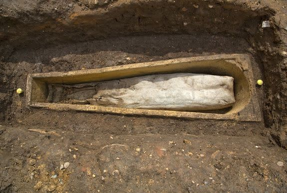 A lead coffin found inside a stone coffin in the ruins of Grey Friars in Leicester is believed to contain a high-status medieval burial.