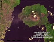 A Landsat 8 image of Sakurajima volcano in Japan, snapped Aug. 19, shows ash from a recent eruption drifting toward the nearby city of Kagoshima.