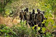 Ugandan soldiers patrol through the central African jungle during an operation to fish out notorious Lord's Resistance Army (LRA) leader Joseph Kony in April 2012. Kony's Lord Resistance Army has abducted more than 600 child soldiers and sex slaves over the past two years even as the hunt for the rebel leader intensifies, the UN said Wednesday