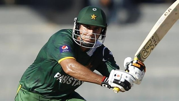 Pakistan's Nasir Jamshed plays a shot (Reuters)