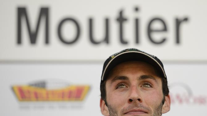French cyclist Jonathan Hivert looks on after winning the second stage of the Tour de Romandie cycling race, a 149,1 km stage from Montbeliard to Moutier, during the podium ceremony on April 26, 2012 in Moutier. AFP PHOTO / FABRICE COFFRINIFABRICE COFFRINI/AFP/GettyImages