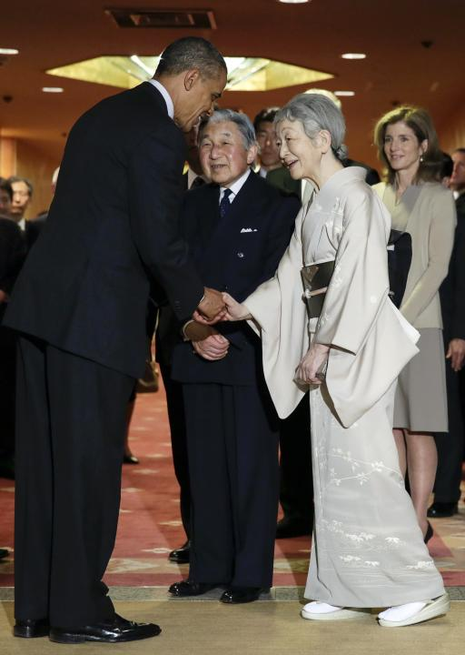U.S. President Barack Obama bids farewell to Japan's Emperor Akihito and Empress Michiko, as U.S. Ambassador to Japan Caroline Kennedy looks on, in Tokyo