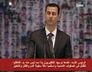 Image grab from state-run Syrian TV shows Syria's embattled President Bashar al-Assad making a public address on the latest developments in the country and the region on January 6, 2013. Assad in the rare speech on Sunday, calling for a national dialogue to end the 21-month conflict, but stressed he would not talk to those who have taken up arms against his regime