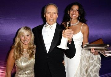 Miss Golden Globes Kathryn Eastwood, Clint Eastwood, Winner - Director, and Dina Eastwood InStyle/Warner Bros. Golden Globes Party The Palm Court at the Beverly Hilton - Beverly Hills, CA - 1/16/05
