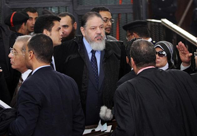Lawyer Zayat arrives for a trial of 200 charged with belonging to the Ansar Bait al-Maqdis group, in Cairo court