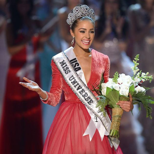 Miss USA, Olivia Culpo walks on stage after being named Miss Universe 2012  in Las Vegas, Nevada on December 19, 2012