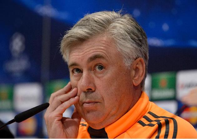 Real Madrid coach Carlo Ancelotti attends a press conference in Madrid on April 22, 2014, the eve of his side's Champions League semi-final against Bayern Munich in Madrid