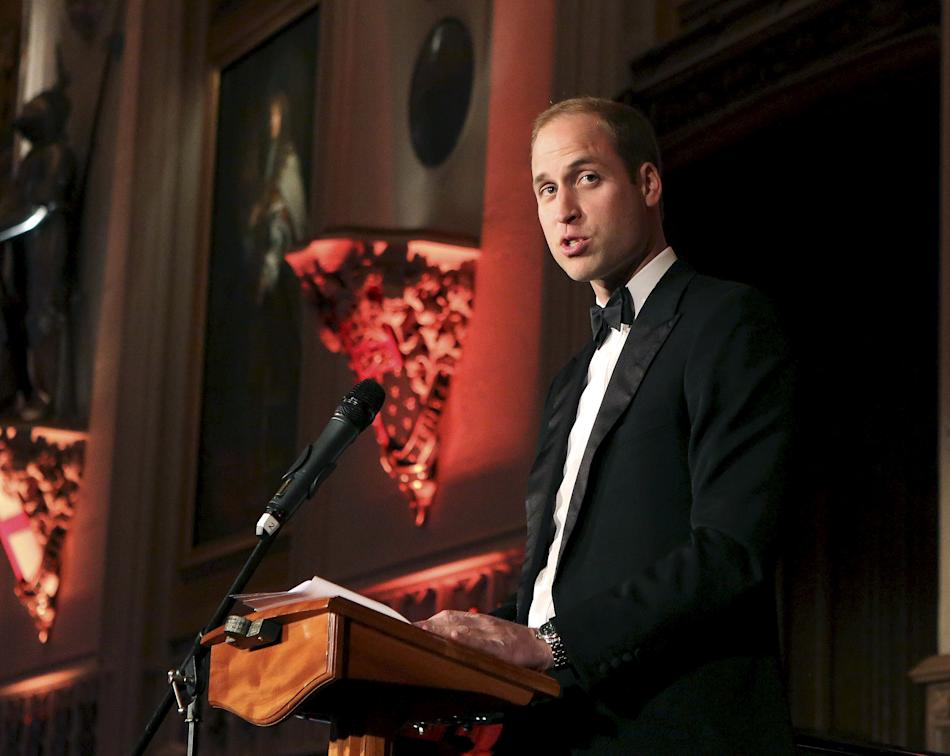 Britain's Prince William speaks at a reception and dinner to mark the 25th founding anniversary of African conservation charity Tusk, at Windsor Castle