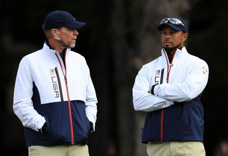 Tiger Woods and Steve Stricker at the Ryder Cup. (Getty Images)