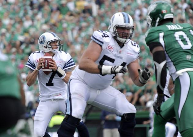 Trevor Harris of the Toronto Argonauts looks for a receiver as offensive lineman Chris Van Zeyl guards his flank during first half CFL action against the Saskatchewan Roughriders in Regina on Sunday,