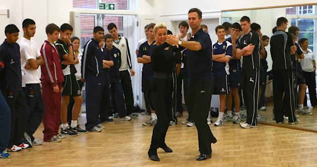 Michael Vaughan Rehearses His Strictly Come Dancing Routine