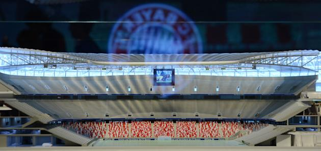 "A Model Of The Stadium ""Allianz Arena"" Is AFP/Getty Images"