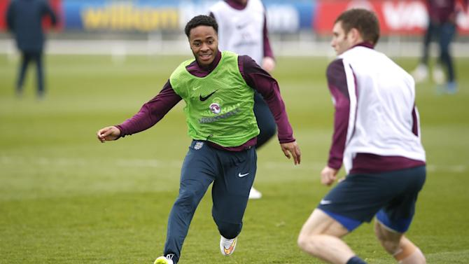 Football: England's Raheem Sterling during training