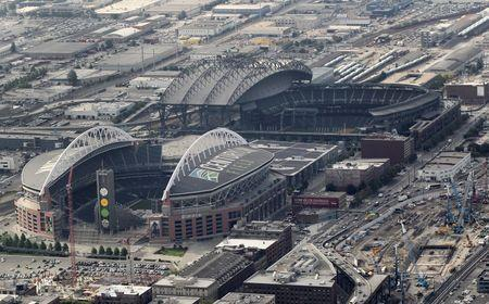 Aerial view shows the cluster of the City of Seattle's current MLB, NFL stadiums and proposed NBA/NHL arena